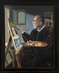 The artist, framed