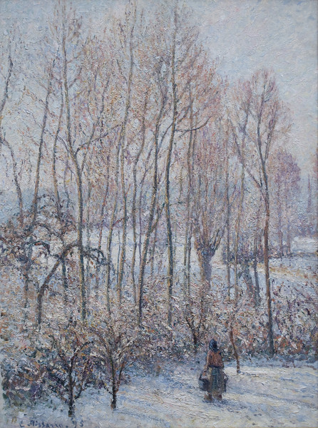 Morning Sunlight on the Snow, Eragny-sur-Epte<br /> Camille Pissarro, French (born in the Danish West Indies), 1830–1903<br /> 1895. Oil on canvas. 32 3/8 x 24 1/4 in.<br /> Boston Museum of Fine Arts