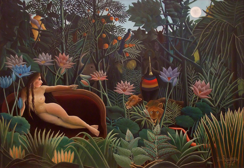 "The Dream<br /> Henri Rousseau (French, 1844-1910). <br /> 1910. Oil on canvas, 6' 8 1/2"" x 9' 9 1/2""<br /> Museum of Modern Art"