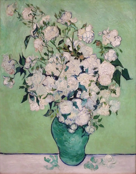 Vase of Roses<br /> Vincent van Gogh (Dutch, 1853–1890)<br /> 1890. Oil on canvas. 36 5/8 x 29 1/8 in<br /> Metropolitan Museum of Art