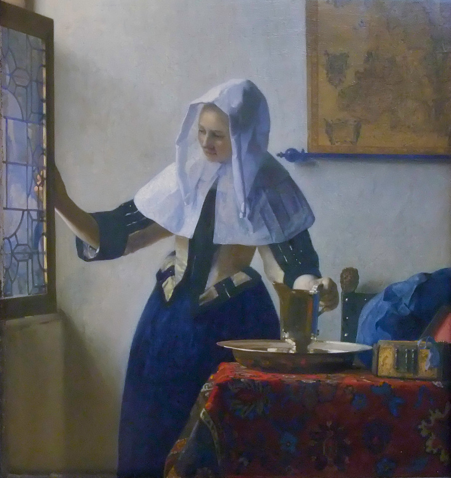 Young Woman with a Water Pitcher<br /> Johannes Vermeer (Dutch, 1632–1675)<br /> 1662. Oil on canvas 18 x 16 in.<br /> Metropolitan Museum of Art