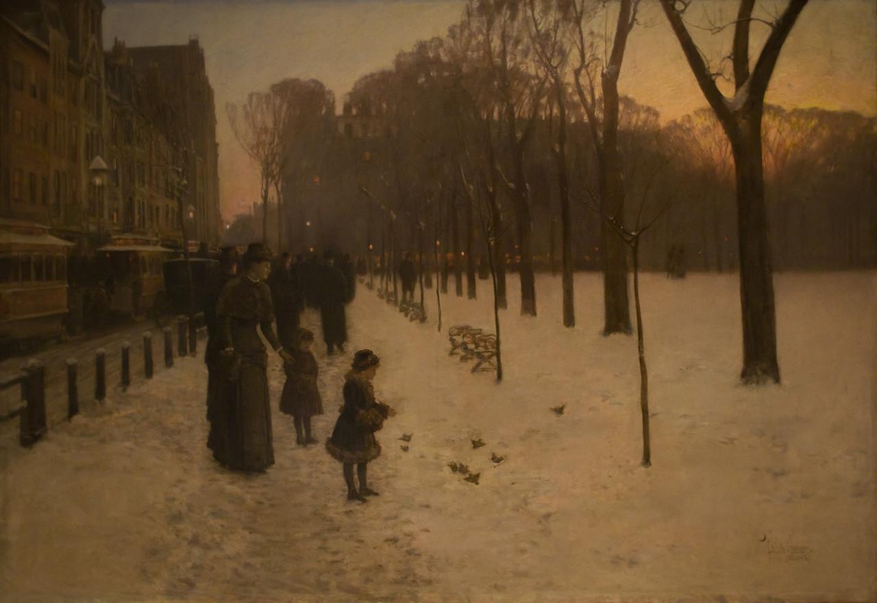 Boston Common at Twilight<br /> Childe Hassam (American, 1859–1935)<br /> 1885–86. Oil on canvas. 42 x 60 in.<br /> Boston Museum of Fine Arts