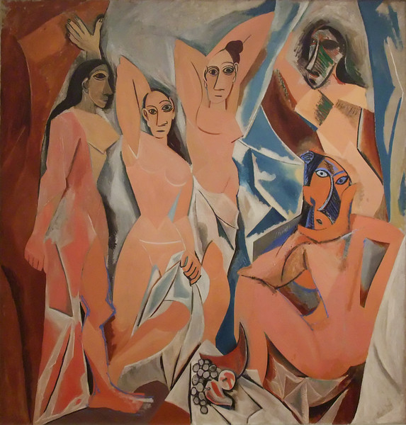 "Les Demoiselles d'Avignon (Young Women of Avignon)<br /> Pablo Picasso (Spanish, 1881-1973). <br /> 1907. Oil on canvas, 8' x 7' 8""<br /> Museum of Modern Art"