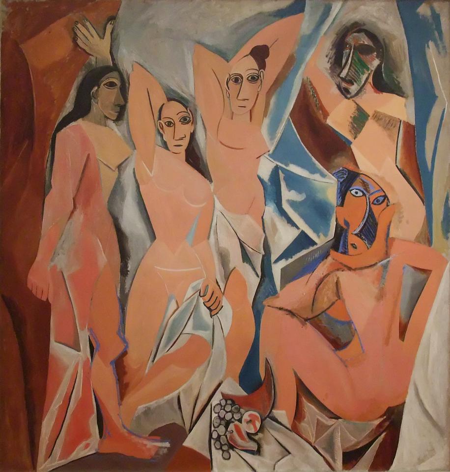 "Les Demoiselles d'Avignon (Young Women of Avignon)<br /> Pablo Picasso (Spanish, 1881-1973). <br /> 1907. Oil on canvas, 8' x 7' 8""<br /> Museum of Modern Art"