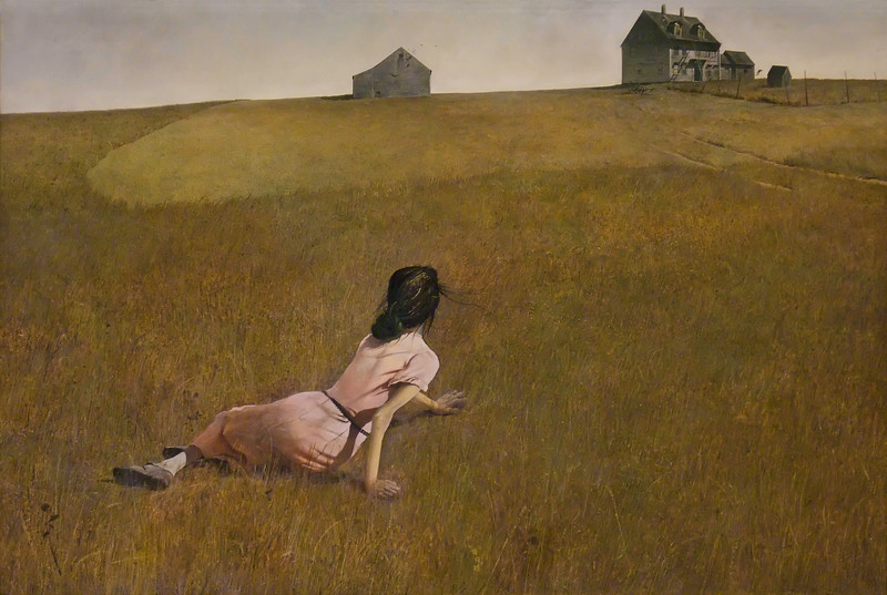 "Christina's World<br /> Andrew Wyeth (American, 1917-2009)<br /> 1948. Tempera on gessoed panel, 32 1/4 x 47 3/4""<br /> Museum of Modern Art"