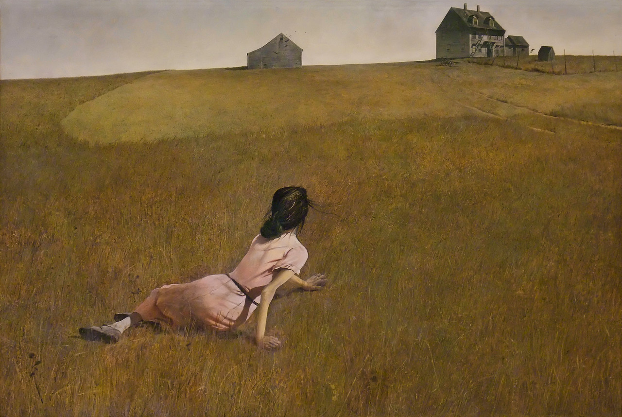 """Christina's World<br /> Andrew Wyeth (American, 1917-2009)<br /> 1948. Tempera on gessoed panel, 32 1/4 x 47 3/4""""<br /> Museum of Modern Art"""