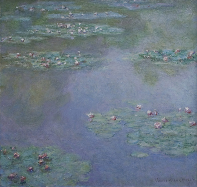 Water Lilies<br /> Claude Monet, French, 1840–1926<br /> 1907. Oil on canvas. 38 1/8 x 36 3/4 in.<br /> Boston Museum of Fine Arts