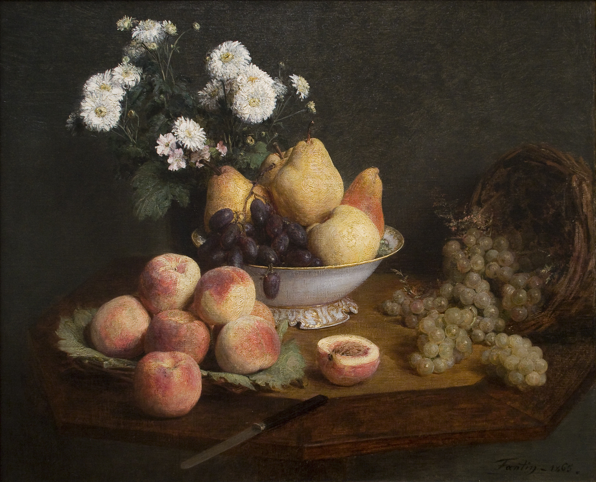 Flowers and Fruit on a Table<br /> Henri Fantin-Latour (French, 1836–1904)<br /> 1865. Oil on canvas. 23 5/8 x 28 7/8 in<br /> Boston Museum of Fine Arts