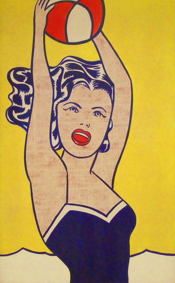 """Girl with Ball<br /> Roy Lichtenstein (American, 1923-1997)<br /> 1961. Oil and synthetic polymer paint on canvas, 60 1/4 x 36 1/4"""" <br /> Museum of Modern Art"""
