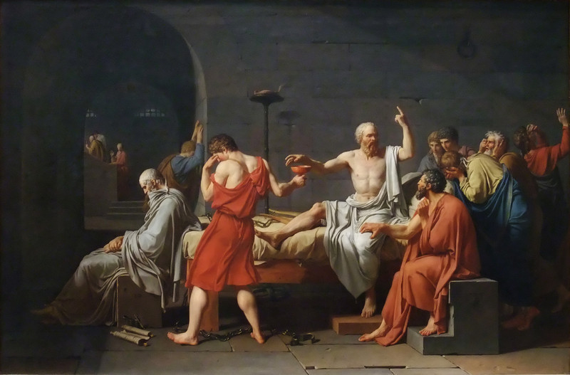 The Death of Socrates<br /> Jacques-Louis David (French, 1748–1825)<br /> 1787. Oil on canvas. 51 x 77 1/4 in.<br /> Metropolitan Museum of Art