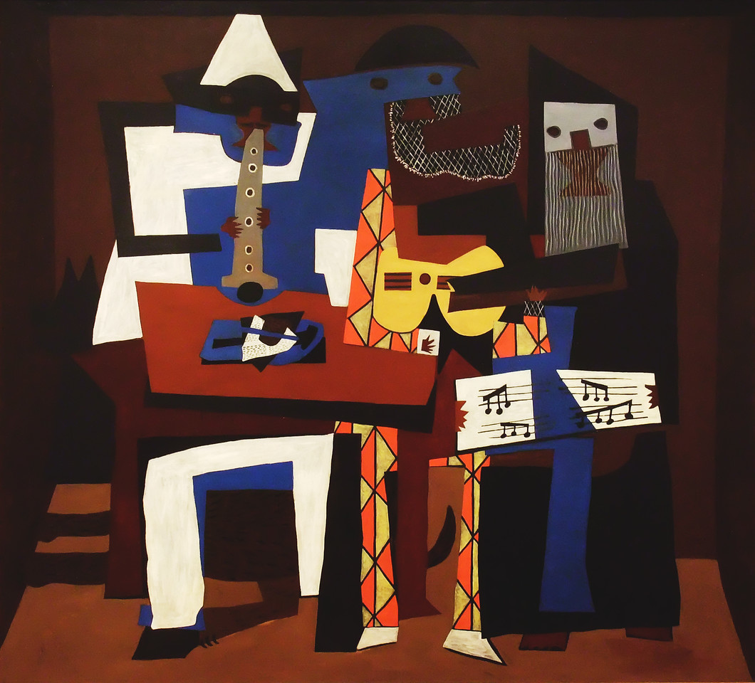 """Three Musicians<br /> Pablo Picasso (Spanish, 1881-1973)<br /> 1921. Oil on canvas. 6' 7"""" x 7' 3 3/4""""<br /> Museum of Modern Art"""