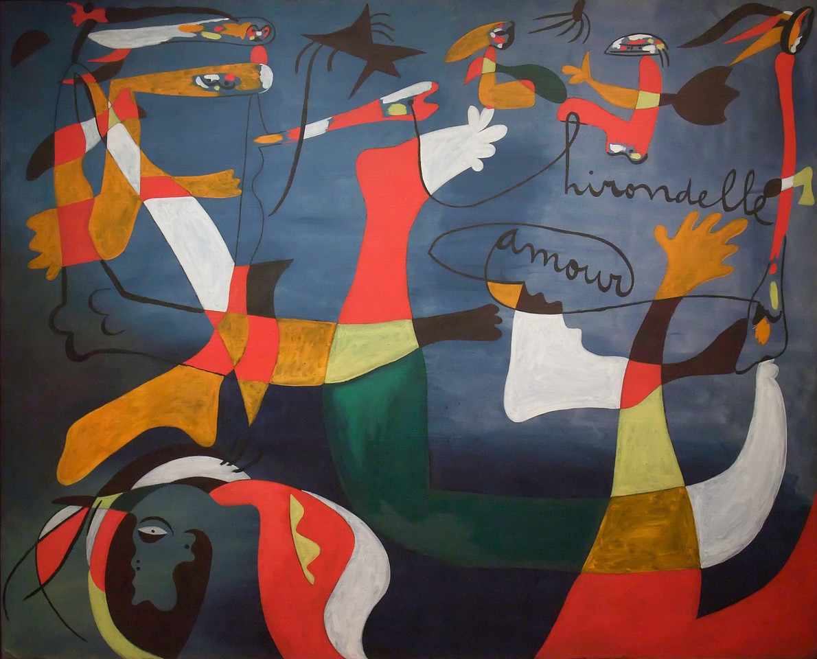 """Hirondelle Amour<br /> Joan Miró (Spanish, 1893-1983)<br /> 1933-1934. Oil on canvas, 6' 6 1/2"""" x 8' 1 1/2""""<br /> Museum of Modern Art"""