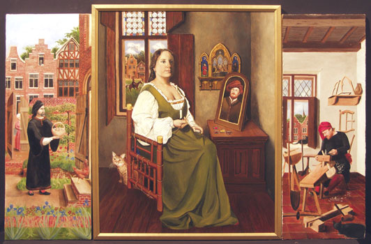Painting of Caterina with side panels to form a triptych
