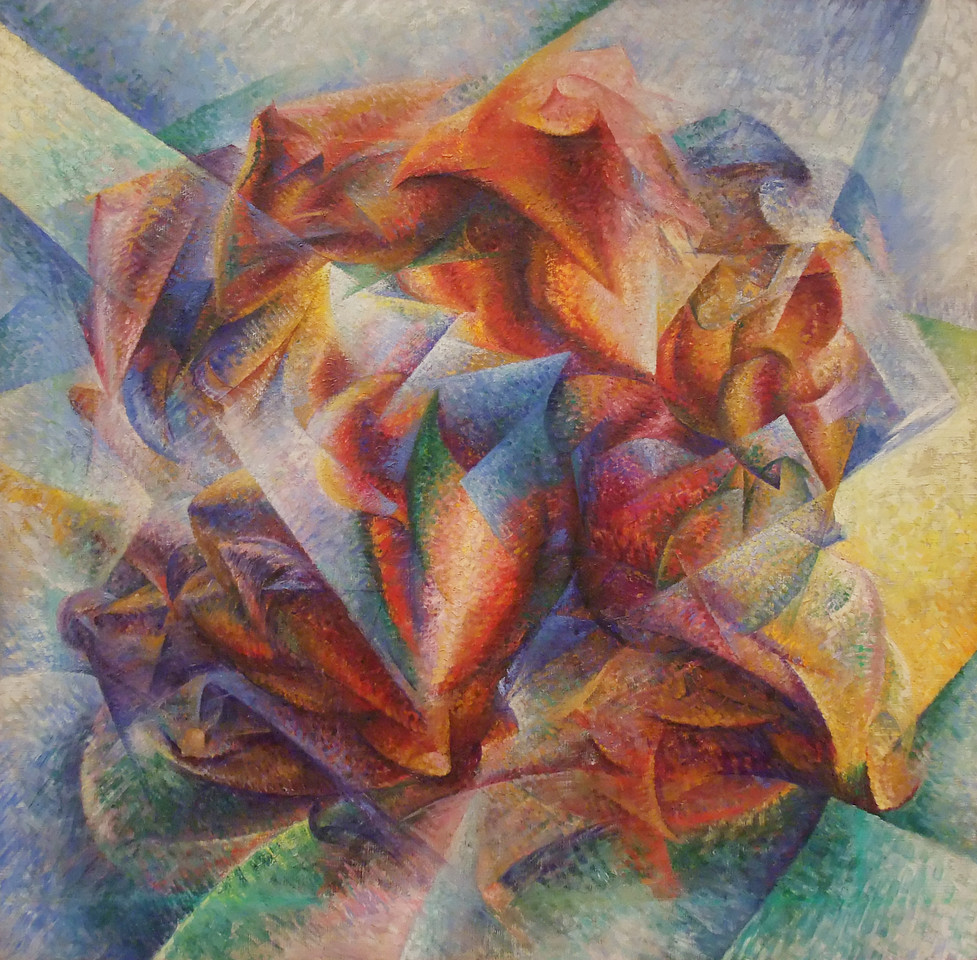 """Dynamism of a Soccer Player<br /> Umberto Boccioni (Italian, 1882-1916)<br /> 1913. Oil on canvas, 6' 4 1/8"""" x 6' 7 1/8""""<br /> Museum of Modern Art"""