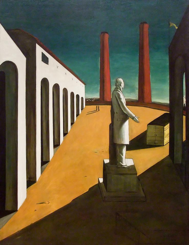 """The Enigma of a Day<br /> Giorgio de Chirico (Italian, born Greece. 1888-1978)<br /> 1914. Oil on canvas, 6' 1 1/4"""" x 55""""<br /> Museum of Modern Art"""