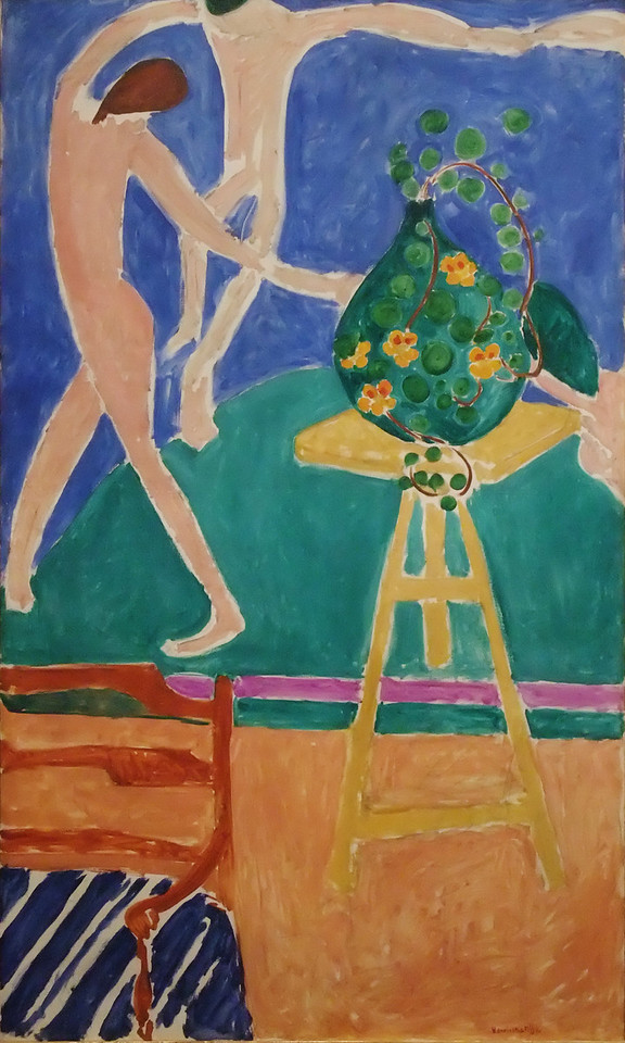 """Nasturtiums with the Painting """"Dance""""<br /> Henri Matisse (French, 1869–1954)<br /> 1912. Oil on canvas. 75-1/2 x 45-3/8 in.<br /> Metropolitan Museum of Art"""