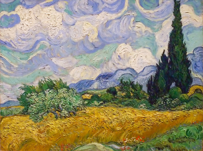 Wheat Field with Cypresses<br /> Vincent van Gogh (Dutch, 1853–1890)<br /> 1889. Oil on canvas. 28 3/4 x 36 3/4 in. (73 x 93.4 cm)<br /> Metropolitan Museum of Art