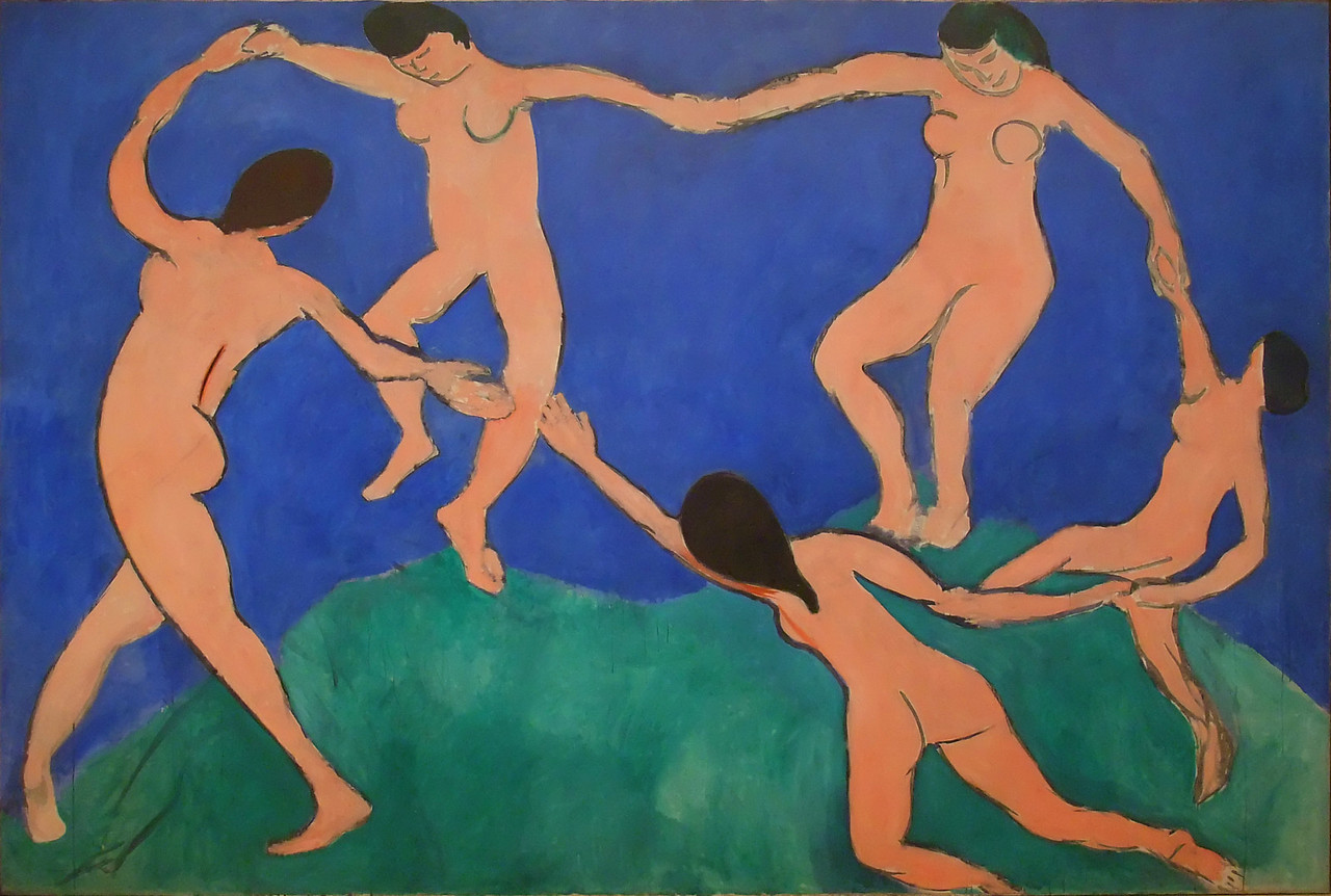 """Dance (I)<br /> Henri Matisse (French, 1869-1954). <br /> 1909. Oil on canvas, 8' 6 1/2"""" x 12' 9 1/2""""<br /> Museum of Modern Art"""