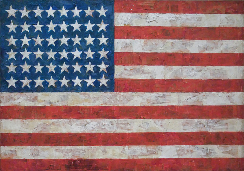 "Flag<br /> Jasper Johns (American, born 1930)<br /> 1954-55. Encaustic, oil, and collage on fabric mounted on plywood, three panels, 42 1/4 x 60 5/8""<br /> Museum of Modern Art"
