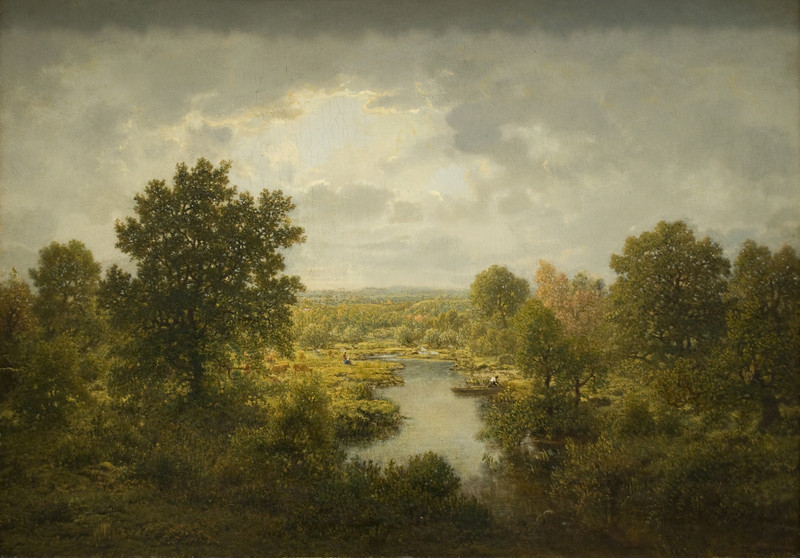 Wooded Stream<br /> Théodore Rousseau (French, 1812–1867)<br /> 1859. Oil on panel. 21 x 29 3/8 in<br /> Boston Museum of Fine Arts