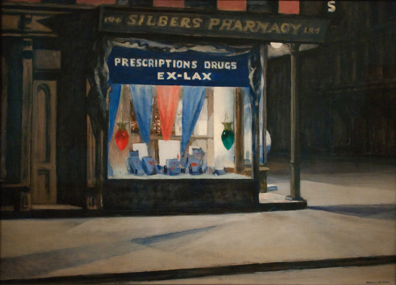 Edward Hopper<br /> Drug Store<br /> 1927