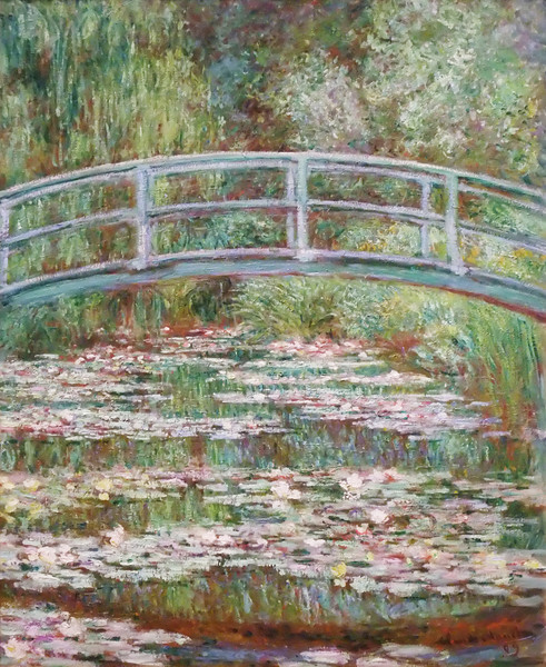 Bridge over a Pond of Water Lilies<br /> Claude Monet (French, 1840–1926)<br /> 1899. Oil on canvas. 36 1/2 x 29 in<br /> Metropolitan Museum of Art