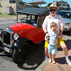 Peter and Noah with an Austin 7 in Milton NSW at Easter 2013. Photo by Simon.