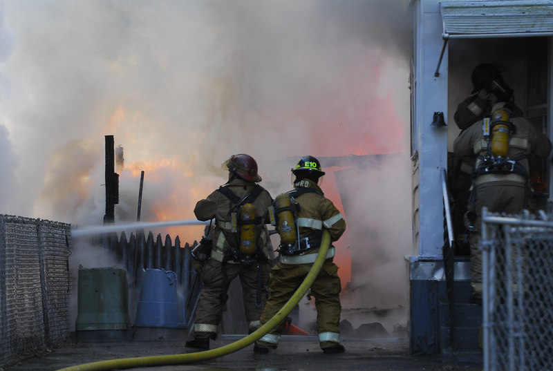Springfield Fire Department puts out a garage fire at 67/69 Clayton Street on New Year's Eve, 2006.