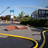 Harrisonburg Tower 1 sprays water on to an inaccessible area of fire.