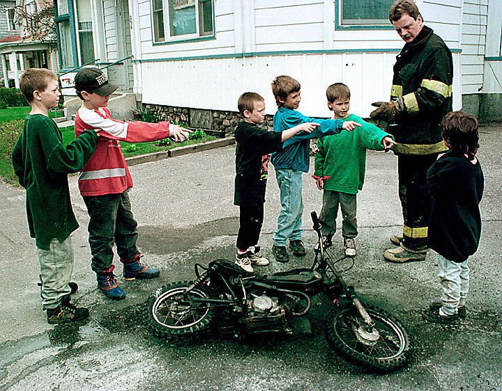 Who was riding the minibike when it caught fire?