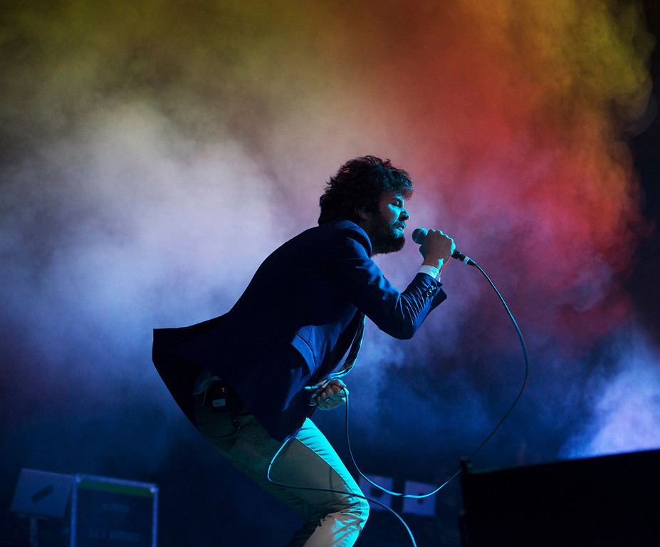 . Passion Pit frontman Michael Angelakos performs at the First City Music Festival, Saturday, August 24th, 2013 at the Monterey County Fairgrounds. (Matthew Hintz/Monterey County Herald)