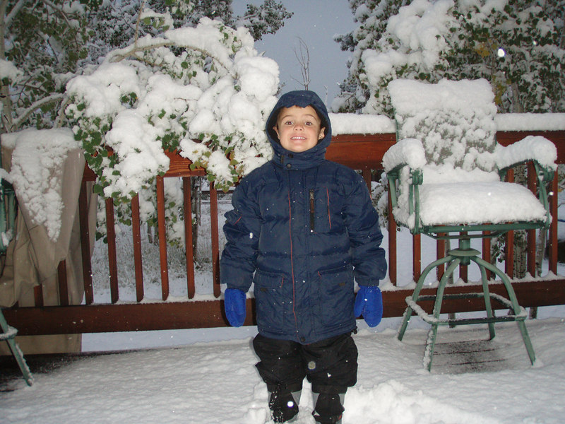 Zachary is ready for a snowball fight