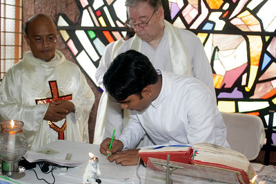 Each document of religious profession is then signed by the newly professed and the District Superior.