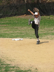 Jacob at second base--cheering the Pitcher's strike.