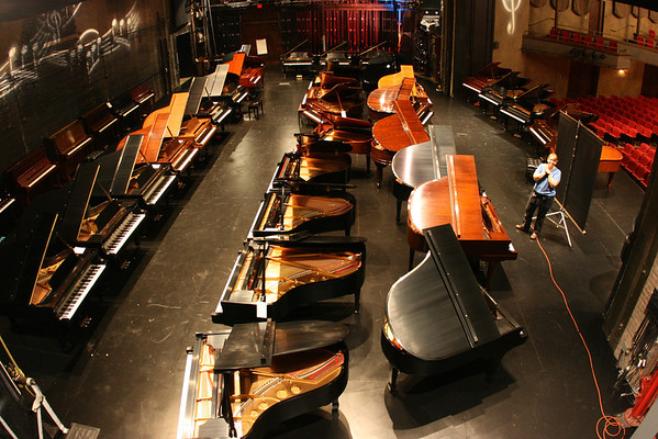 40ish Pianos on the Matthews Stage at McCarter for the Jacob's Piano Sale.