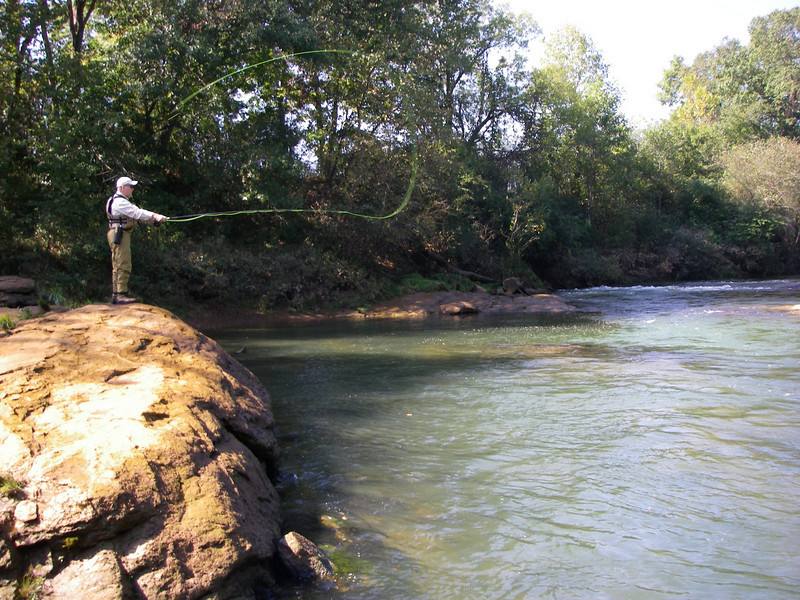 Fly fishing for Brown Trout on the Chattahoochie, 2007.