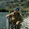 Author, flyfisher Steve Raymond with a steelhead on Oregon' Deschutes River.
