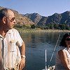 Anne and Al Pratt take a break after a morning of trout and bass fishing below Hells Canyon on the Snake River.