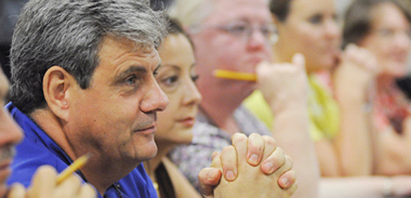 Chef Christian Chavanne listens to the discussion at one of four panel groups during the Fit City Community Round Table at TJC West on Wednesday.Photo: Jaime R. Carrero/Tyler Morning Telegraph