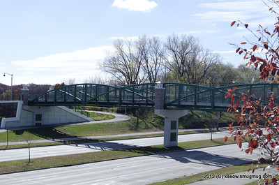 Bike path and bridge marking entrance to Fitchburg
