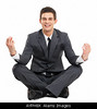 s3.6 m070  / Choice 8 of 9/AYPH8X Business man sitting in lotus position relaxing with yoga Isolated against white background