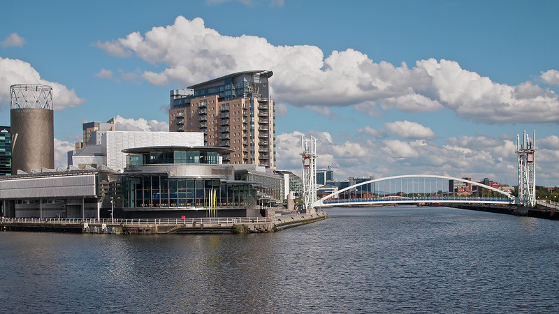 The view from the media city bridge, taken in harsh ligh.
