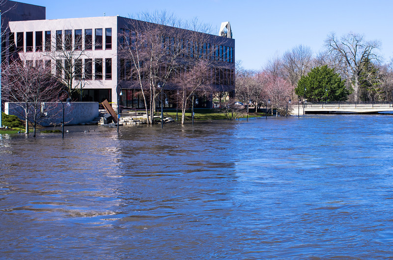 Naperville river walk during the flood of 2013.