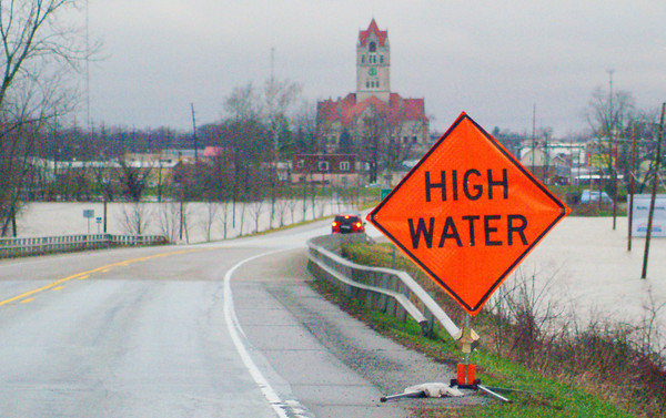 Photo by Aaron Kirchoff<br /> Drivers in and around Rushville and Rush County were advised of high water over the weekend.