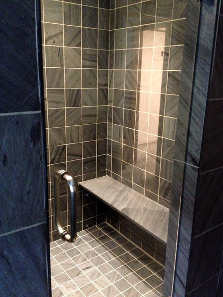 Shadow Gray 6x6 Honed Interior 12x12 Natural Cleft Exterior Shower