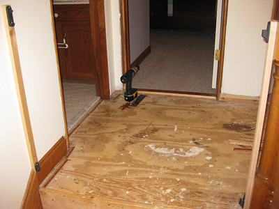 Upstairs hallway flooring project - 2009
