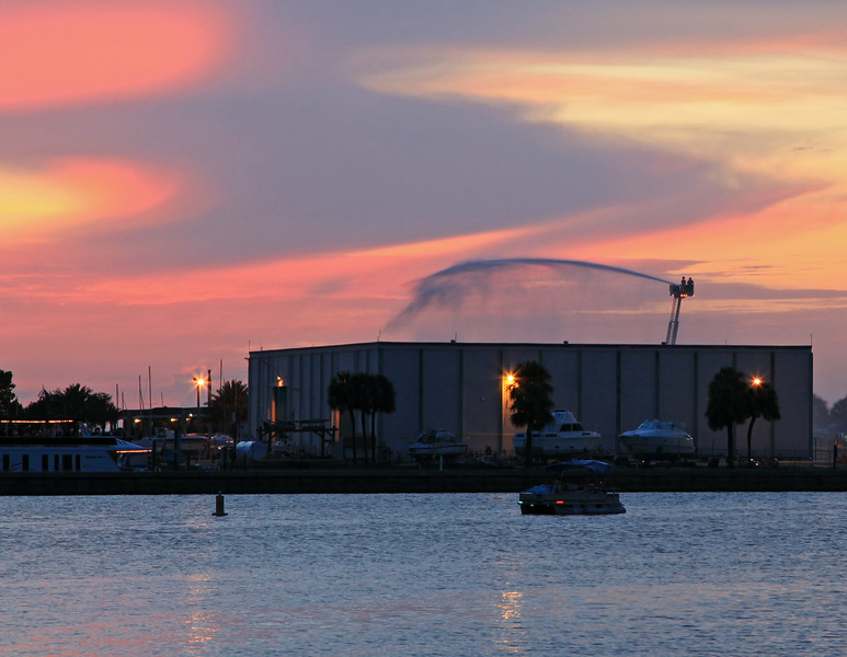Hosing the Sanford Marina prior to Fireworks
