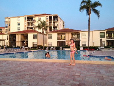 We arrive in the evening and have a quick dip in the pool