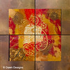 Flower of life~Joy<br /> Original encaustic with gemstones crystals<br /> <br /> Red and gold are the colors of joy and celebration of love in the East. Red is active, passionate, filled with energy. Gold represents the presence of divine and transforming energy. The paisley patterns represent life and eternity...choosing joy in this life and beyond. Aquamarine represents joy and the bringer of happiness; Carnelian joy combined with warmth and deep love; Citrine brings joy and promotes optimism; Rose quartz represents universal love, self-acceptance and emotional healing.