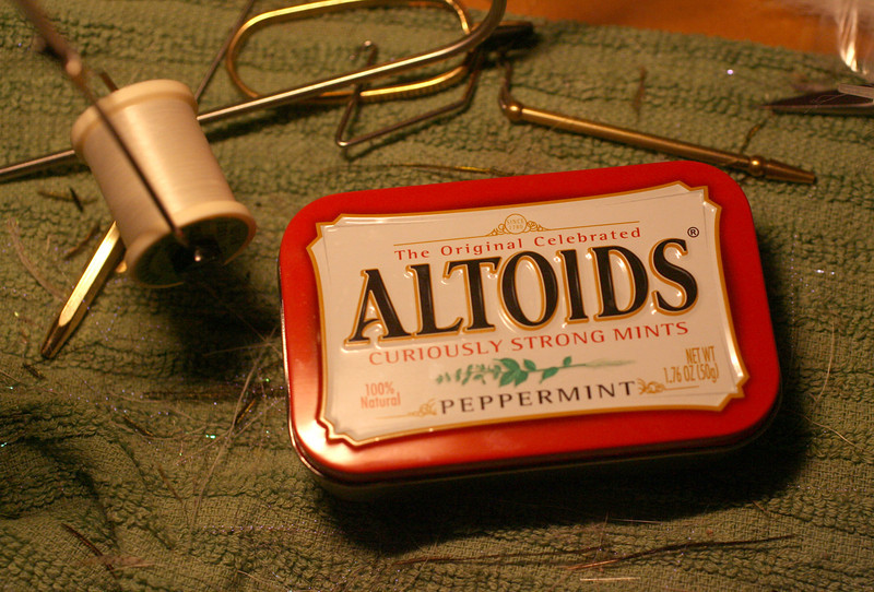 Homemade Altoids fly box